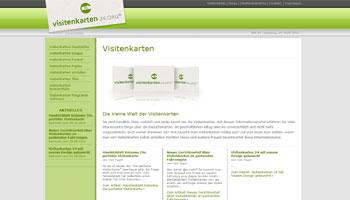 Abbildung der Startseite der Internetpräsenz Visitenkarten-24.org