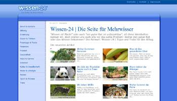 Bild der Startseite von wissen-24.org